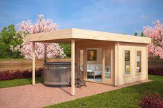 Modernes Gartenhaus (Gartenhaus Modern) mit Terrasse Lucas E 9m² / 44mm / 3x3