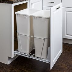 50-quart Double Pullout Waste Container System-white Finish CAN-EBMD50W-R