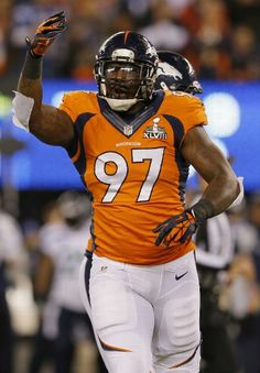EAST RUTHERFORD, NJ - FEBRUARY 02: Defensive end Malik Jackson #97 of the Denver Broncos reacts in the first quarter against the Seattle Seahawks during Super Bowl XLVIII at MetLife Stadium on February 2, 2014 in East Rutherford, New Jersey. (Photo by Kevin C. Cox/Getty Images)
