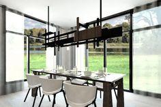 Plan de Maison Moderne Ë_140 | Leguë Architecture Architect Design, House Plans, Conference Room, House Design, How To Plan, Architecture, Table, Furniture, Home Decor
