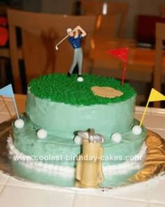 Homemade Golf Cake: I made this Golf Cake for my brother's birthday and it was super easy! It is made of 2 9 inch rounds and 2 8 inch rounds. The golf guy and flags
