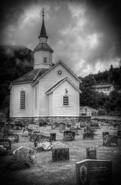 Norway church - Love this black  white pic. It all looks kind of mystical...almost eerie with the graveyard there. LOVE this!