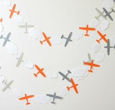Paper Garland  Airplanes  Grey & Orange by ScoutAndAcadia on Etsy, $12.00