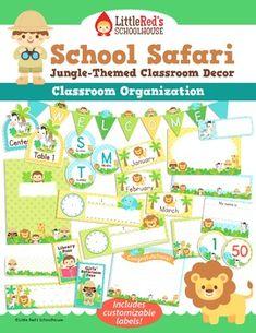 Classroom Organization Labels Set - Jungle Safari Theme $