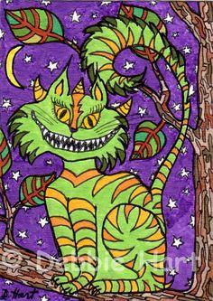 Original ACEO TW OCT Cheshire Cat Monster DEBBIE HART Moon Green Orange Purple #Whimsical