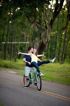On a dirt bike for Zach and I's engagements
