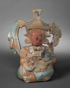 Whistle Figure with Monkey and Child, AD 550-950, Maya - Denver Art Museum, Pre-Columbian Art