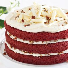 Red Velvet Layer Cake with Cream Cheese Frosting #recipes #dessert