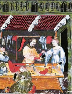 Italian Tailors shop. c.1390 by medievalarchive, via Flickr