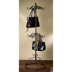 2 TIER BLACK METAL SCARF AND PURSE DISPLAY TREE