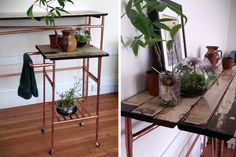 Eat your heart out, #Anthropologie. Make your own gorgeous, furniture from #rustic wood and #reused pipes.