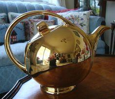 A Stunning Vintage Iconic Hall Pottery U s A Gold Gilt Teapot Reg No 3111 | eBay