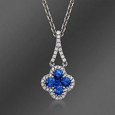 Ross-Simons - Gregg Ruth .49 ct. t.w. Sapphire and .13 ct. t.w. Diamond Pendant Necklace in 18kt White Gold - #775064