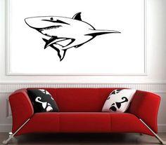 Wall Decor Vinyl Decal Sticker Mural dangerous predator shark S2558