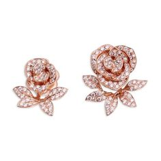 Anyallerie 'Mini Rose' diamond 18k rose gold jacket earrings (8 935 145 LBP) ❤ liked on Polyvore featuring jewelry, earrings, metallic, 18k rose gold earrings, flower jewellery, flower earrings, rose jewelry and pink gold earrings