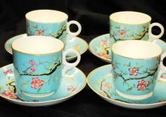 Mouse over image to zoom                              Antique Painted Blossom Aqua set of 4 Teacups and saucers on Ebay