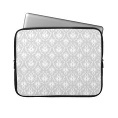 White and Pastel Gray Damask Design. Computer Sleeves