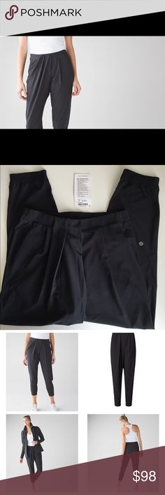Lululemon &go Keepsake Pant Like new, only worn once black Lululemon &go Keepsake Pant. Super cute high waist lulu pant!! Relaxed easy to wear out and about pant. Great with sneaks/crop tops or tucked in body suits etc.! Have too many lulu pants and need to part with some.😊 2016 pant, still have original tag! lululemon athletica Pants