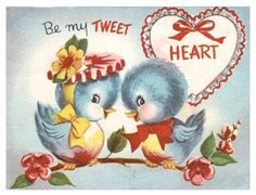 vintage little lovebirds -TWEET