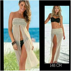 Sexy Slit Front Beach Dress/Skirt Coming today or tomorrow! Wear this versatile beachwear either way. Length is 148cm. $ is firm Skirts Coverups