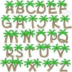 Tree Embroidery Font Palm Tree