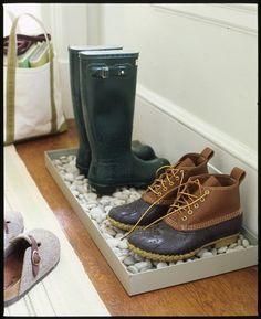 Good idea for rainy days. The rocks in a tray are so easy!