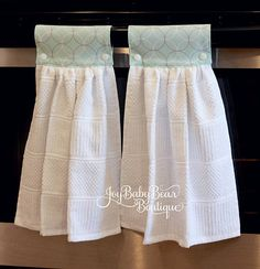 This listing is for 2 identical hanging kitchen towels. Spice up your kitchen with these stylish aqua blue and white hanging towels. Just wrap around your oven or dishwasher handle, then stand back and smile. Secured with snaps, these handy kitchen towels will hang nicely and stay off