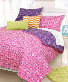 Take a look at this Pink & Purple Ashley Reversible Comforter Set today!