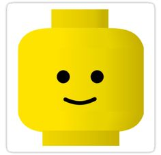 """Smiley Minifig Head by Customize My Minifig"" Stickers by ChilleeW 