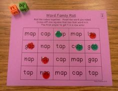Word Family Roll- your students will love this game!!
