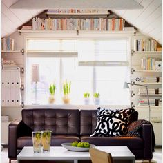 Great book storage idea for slanted ceilings