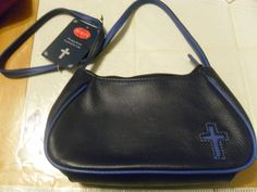 Purse HAND BAG POCKET BOOK ROLF'S GENUINE LEATHER CROSS ON FRONT NEW BLUE #ROLFS #MessengerCrossBody