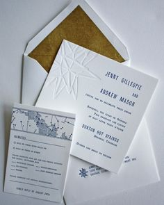 The stars and sky were the inspiration for this white, navy, and gold invitation – a great options for an alfresco affair.Mr. Boddington's Studio