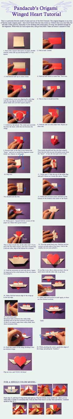 Origami Winged Heart Tutorial by ~pandacub143