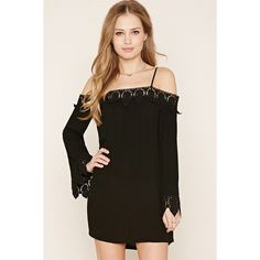 Forever21 Open-Shoulder Embroidered Dress (€24) ❤ liked on Polyvore featuring dresses, black, long camisole, long dresses, long sleeve dress, embroidery dresses and bell sleeve dress