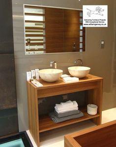 Bespoke teak vanity unit and wash stand