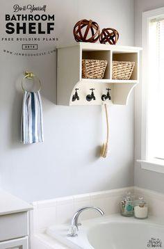 How to build a DIY bathroom shelf via Jen Woodhouse