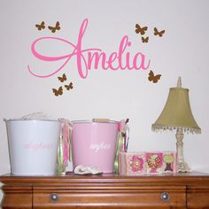 Children's Name with Butterflies Wall Decal - Kids Bedroom Nursery Wall Decor Sticker - Girls Custom Name - CM120A. $20.00, via Etsy.