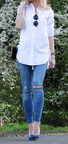 e8d6712893e Outfit  White Shirt   Cobalt Blue Heels w  Saint Laurent Bag