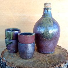 Ceramic Sake Set with Four Cups, Wood Fired on Etsy, $40.00