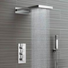 220mm Waterfall & Rainfall Wall Mounted Shower Head & Thermostatic Mixer - 3 Way - soak.com