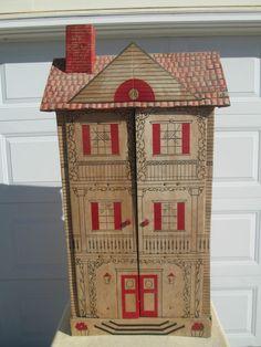 "Vintage Three Story Cardboard Dollhouse 52"" Tall 24"" Wide 11"" Deep nr  #unknown"
