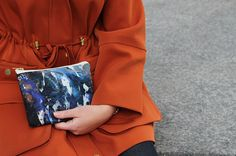 Watery graphic print design. Silk and leather clutch bag www.samanthawarren.co.uk