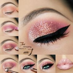 How To Do Makeup – Step By Step Tips For The Perfect Look Glitter Eyes Makeup Tutorial How do I make-up like a pro? We have many simple step-by-step instructions for beginners. Learn about contours, eyeliner, eyeshadow, etc. # Make-up instructions Eye Makeup Glitter, Pink Eye Makeup, How To Do Makeup, Eyeshadow Makeup, Glitter Eyeshadow Tutorial, How To Do Eyeshadow, Eyeshadow Palette, Makeup Brushes, Highlighter Makeup