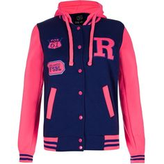 147 Fashion Navy and Neon Pink Sleeve Baseball Jacket ($16) ❤ liked on Polyvore featuring outerwear, jackets, tops, casacos, shirts, blue, sleeve jacket, slim jacket, lightweight jackets and light weight jacket