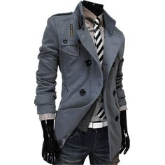 (MAK-GRAY) Mens Luxury Double Breasted High Neck Wool Coat