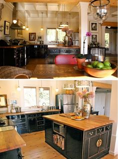 Custom Black Kitchen Cabinets red cabinets with soapstone counters, black island with butcher