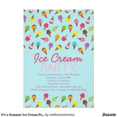 its a summer ice cream party invitation