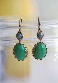 "If Only Indie Earrings 22.99 at shopruche.com. Beautifully marbled green and blue beads give these gold toned drop earrings charming vintage allure.1"" long"