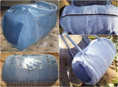Mini duffel with cone studs on the front and bottom made from Levi's denim jeans. Inspired by the popular Alexander Wang Rocco bags